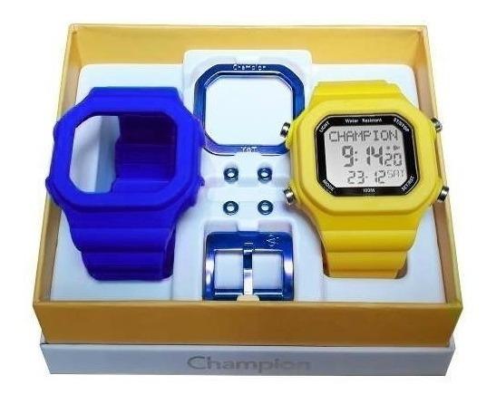 Relógio Champion Yot Original Cp40180x Azul Amarelo