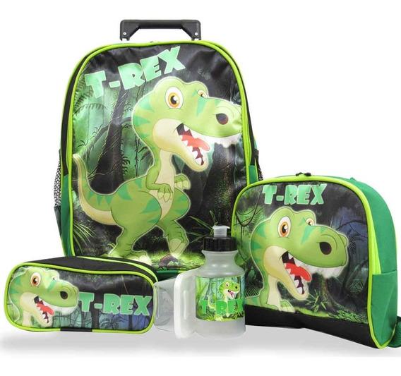 Kit Mochila De Rodinhas Dinossauro T Rex + Lancheira Tam M