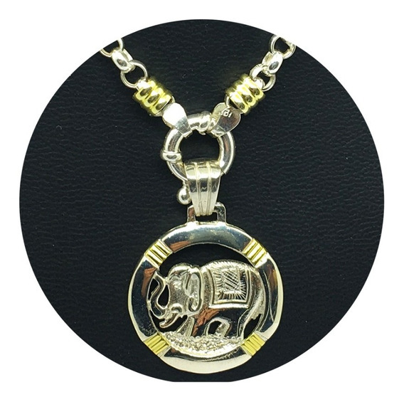 Cadena Rolo Plata Y Oro Dije Elefante Plata Y Oro (i5796)