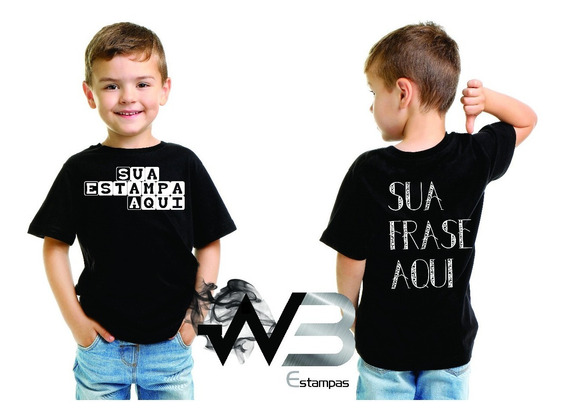 Camiseta Infantil Algodão Personalizada Sua Arte Promoção