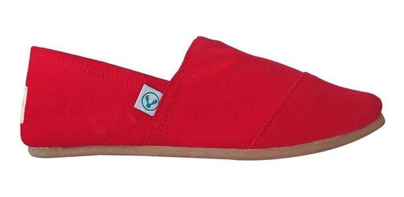 Zapato Alpargatas Korvas Rojo Dama Mujer Casual Cómodo