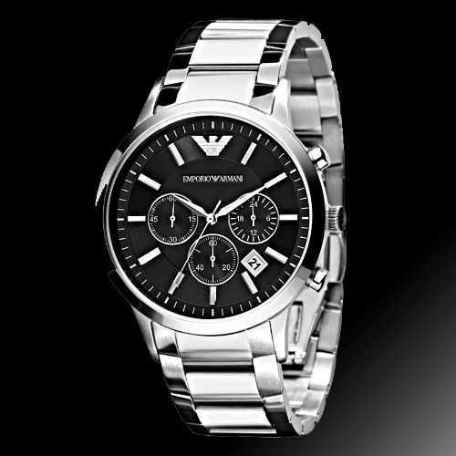 Relógio Az1935 Emporio Armani Ar2434 Preto Cromado / Caixa