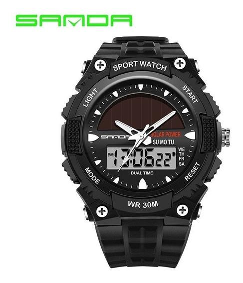 Reloj Solar Sanda 719 Hombre Tipo Militar Sport Navy
