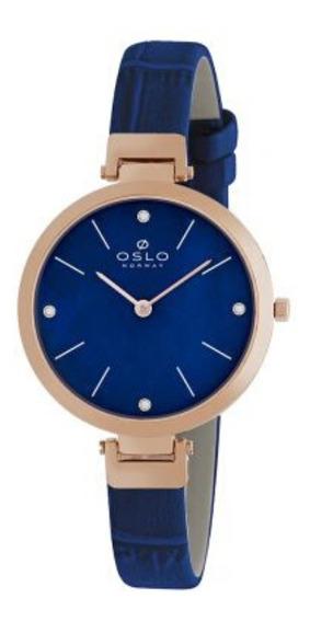 Relógio Feminino Slim Rose Oslo Com Fundo Azul Original+nf