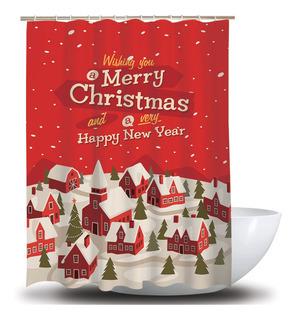 Cortina De Ducha De Navidad Decoración De Baño Cortinas Impe