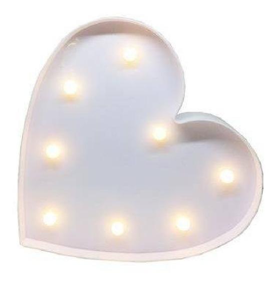 Luminária Abajur Coração Led Luzes Enfeite Parede Decoração