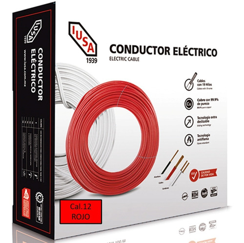 Caja 100 Mts Cable Iusa Rojo Thw Cal 12 Awg 100%cobre
