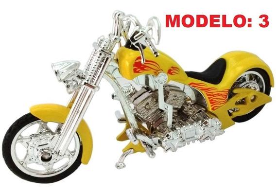 Miniatura Moto Chopper Customizada Várias Cores 1:18 15cm