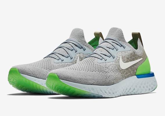 Zapatillas Nike Epic React Flyknit Plomo Verde // Nuevo 2018