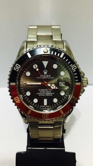 Relógio Submariner Com Catraca Preta E Vermelha