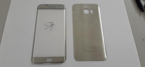 Tampa Traseira + Vidro Frontal Galaxy S7 Edge G935 Prata Nov