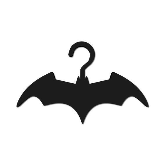 Kit 3 Cabides Em Psai Preto Bat Morcego