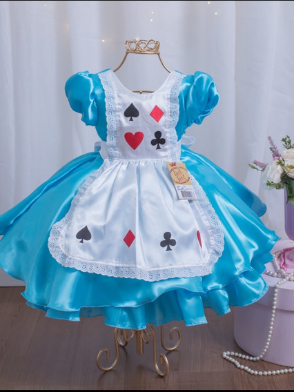 Vestido Alice No País Das Maravilhas Princesa Festa 1 A 3
