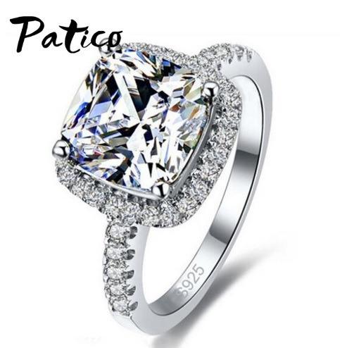 Anéis De Prata Para Mulheres Patico Luxo 100% - Frete Gratis