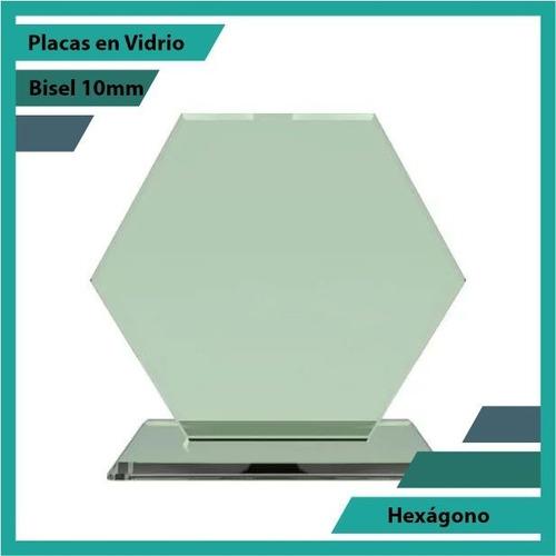 Placas Conmemorativas En Vidrio Hexagono Plano