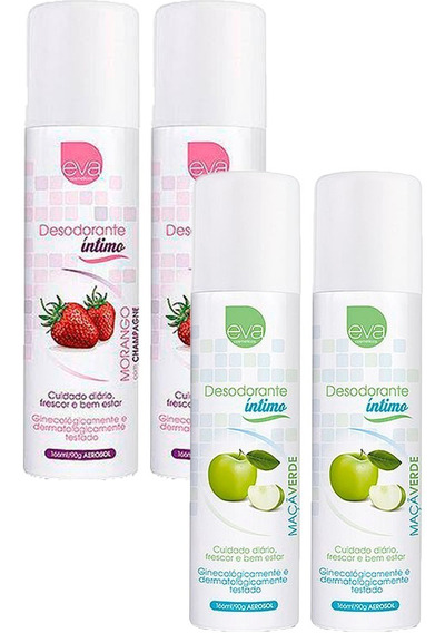 Desodorante Íntimo Feminino 2 Unidades De Cada Sabor 166 Ml