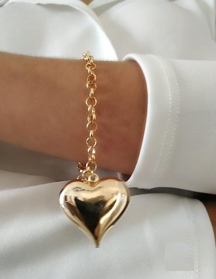 Pulseira Portuguesa C/coração Cheio Grande Banhado Ouro 18k