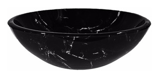 Bacha Baño Apoyo 42 Cms Vidrio Color Negro Marmolada Blanca