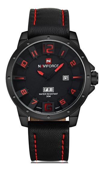 Relógio Masculino Aço Pulseira Couro Preto Calendário