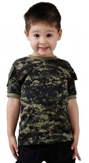 Camiseta Infantil Camuflada Ranger Digital Pântano Bélica