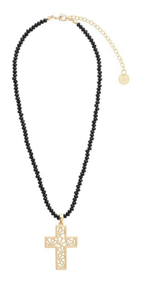 Collar Dije Cruz Dorada Baño Oro 18k Cristal Nice C/envío