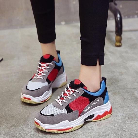 Tênis Sapatos Tenis Feminino, Casuais Preto Vermelho 35 Lind