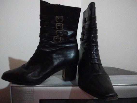 Elegantes Botas De Cuero Negro. N° 37. Muy Buena Calidad
