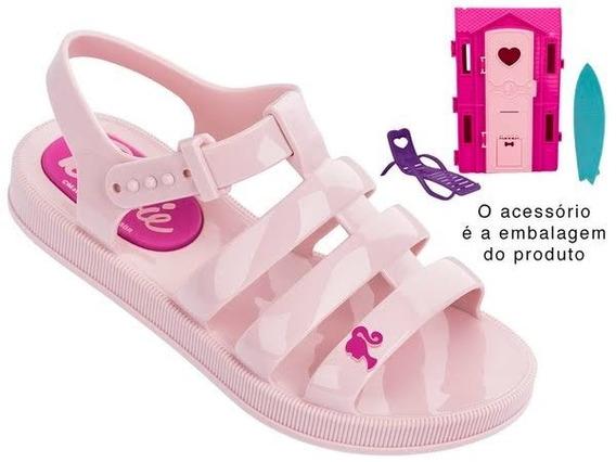 Sandália Infantil Barbie/rosa E Casa De Praia 21832 Original