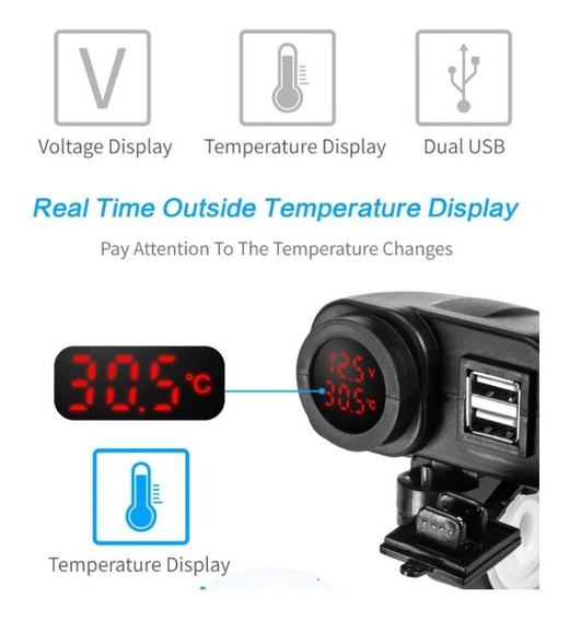 Carregador 12v-5v Usb Duplo Moto C/voltímetro E Temperatura
