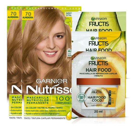 Pack Coloracion 7.0 Almendra Rubios Nutrisse + 3x Hair Food