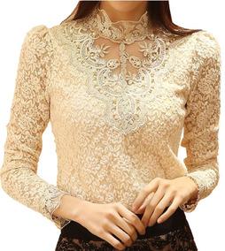 Blusa Luxo De Renda Floral Perolas Poa Camisa Feminina Tule