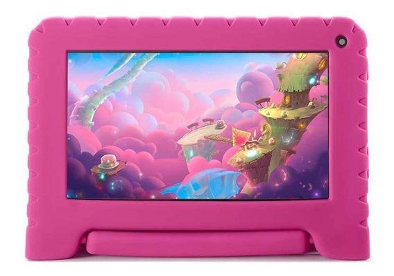 "Tablet com capa Multilaser Kid Pad Lite NB30 7"" 16GB rosa com memória RAM 1GB"