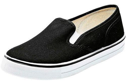 Zapato Piso Panam Mujer Negro Textil Cerrado 9154smc