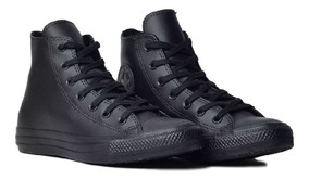 Tênis Converse All Star Monochrome Original Preto Couro Rock