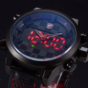 Relógio Masculino Shark Led Couro C/ Estojo Promoção Barato