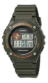 Reloj Digital Casio Illuminator Color Verde Alarma W-216h