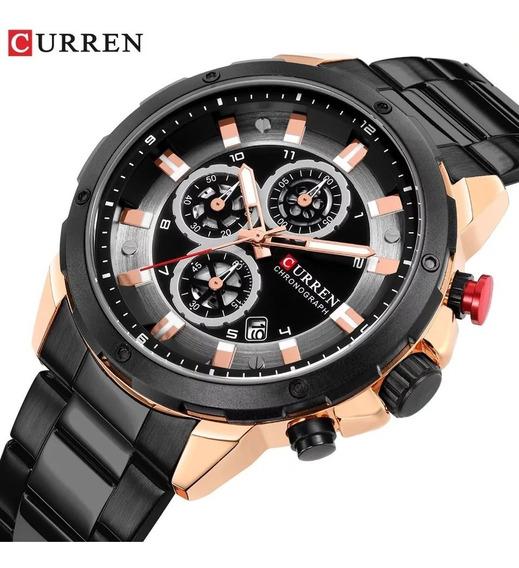 Relógio Curren 8323 Original Cronógrafo Funcional Aço Inox