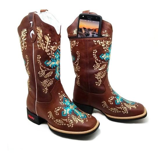Oferta Bota Country Feminina Texana Porta Celular Rodeio