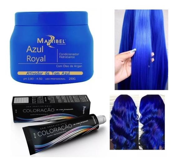 Kit Cabelo Azul Royal 1 Tinta + 1 Matizador 250gr Mairibel