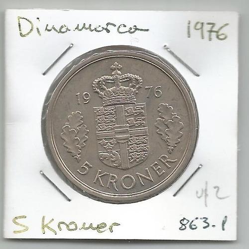 M165 Dinamarca Moneda 5 Krone 1976 Km# 863.1 Margarita 2da