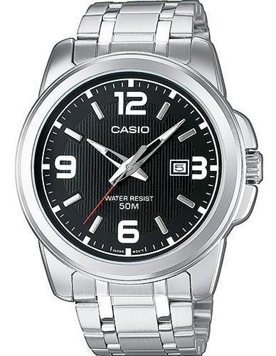 Reloj Casio Modelo Mtp - 1314 Metálico Caratula Negra