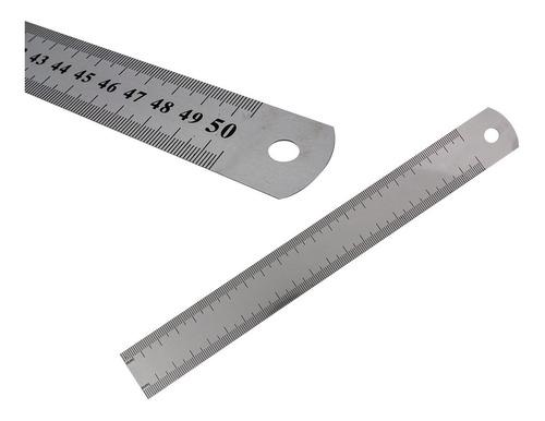 Imagen 1 de 7 de Regla Precisión Acero Inoxidable 50cm Milímetros Y Pulgadas