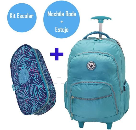 Mochilete Tactel G Mochila Roda +estojo Kit Wookey3464