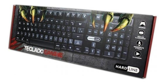Teclado Gamer Semi Mecânico Hardline Kb 7010 Led 3 Cores