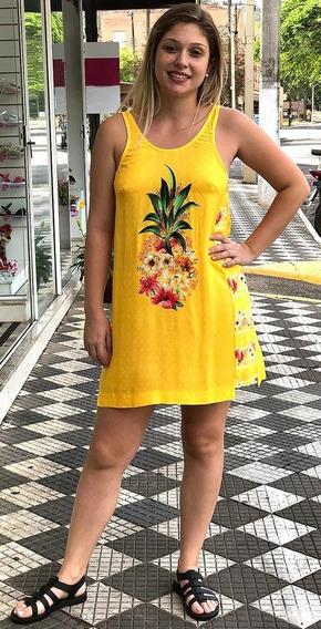Farm Vestido Curto Salada De Flor Amarelo