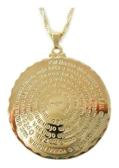 Colar Gargantilha Pingente Medalha Pai Nosso Folheado Ouro