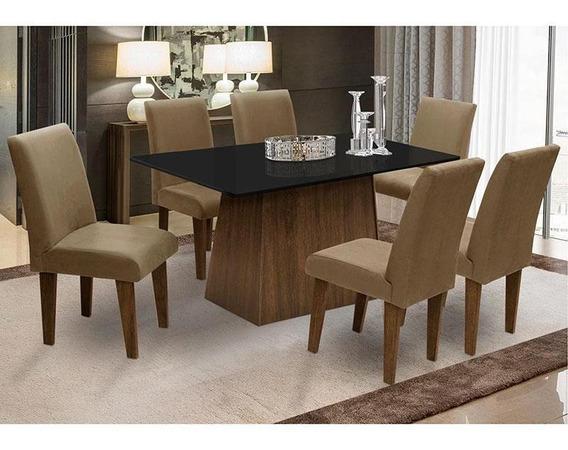 Mesa Para Sala De Jantar Com 6 Cadeira Florença Fit