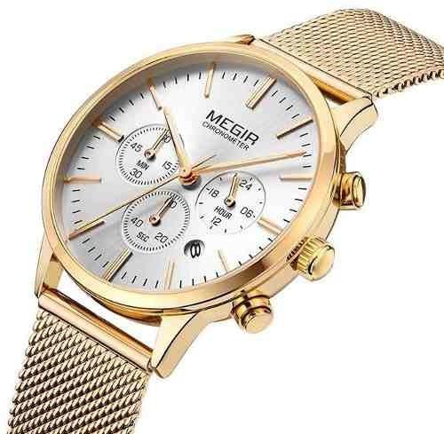Relógio Original Megir Com Cronógrafo Feminino Modelo 2011