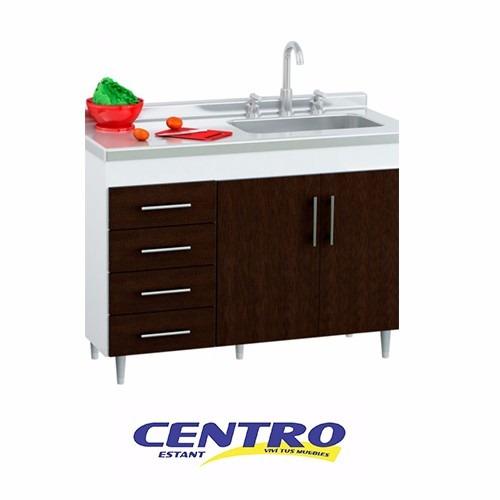 Mueble Bajo Mesada Cocina 1.20mt Con Bacha Reversible Oferta