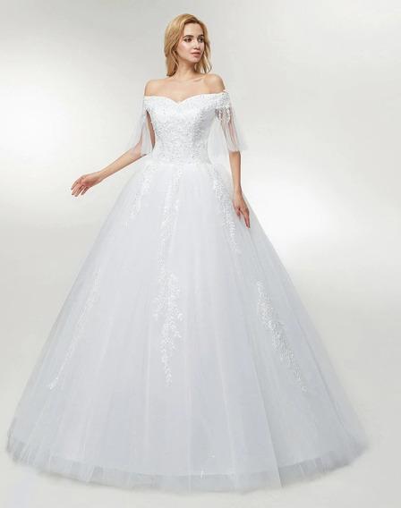Nb28 Vestido De Noiva Renda Véu Saiote Luvas Canoa Perolas
